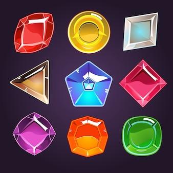 Zestaw kreskówka klejnotów i diamentów