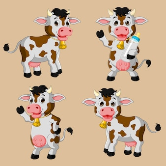 Zestaw kreskówka krowa ładny