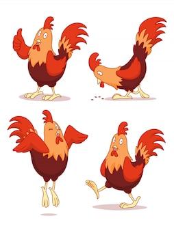 Zestaw kreskówka kurczaka w różnych pozach.