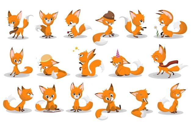 Zestaw kreskówka lis czerwony. zabawna postać zwierzęcia uśmiechnięta, płacząca, chodząca, grająca w grę, spanie