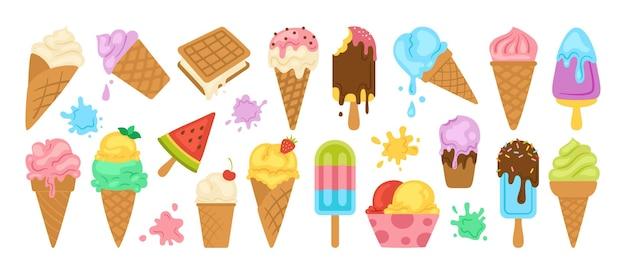 Zestaw kreskówka lody. czekolada, lody waniliowe owocowe, mięta, lody jagodowe na patyku.