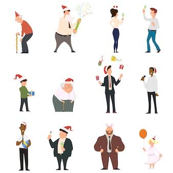 Zestaw kreskówka ludzi tańczących z okazji ludzi zabawy na imprezie nowego roku.