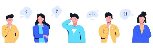 Zestaw kreskówka ludzie myślą ze znakiem zapytania w bańki myśli na białym tle
