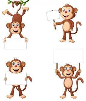Zestaw kreskówka małpa trzyma tablicę tekstową. ilustracja