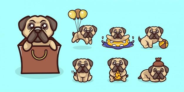 Zestaw kreskówka maskotka ładny pies mops kreskówka logo