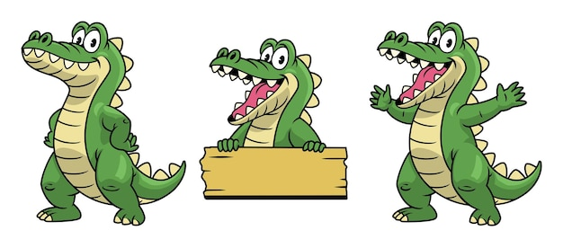 Zestaw kreskówka maskotka o charakterze krokodyla