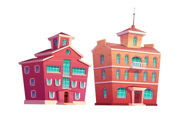 Zestaw kreskówka miejski budynek retro