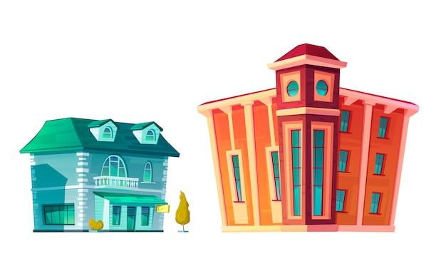 Zestaw kreskówka miejski retro budynek