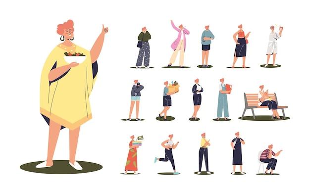 Zestaw kreskówka młoda kobieta wegańska trzymająca wrzask z sałatką jarzynową w różnych sytuacjach i pozach