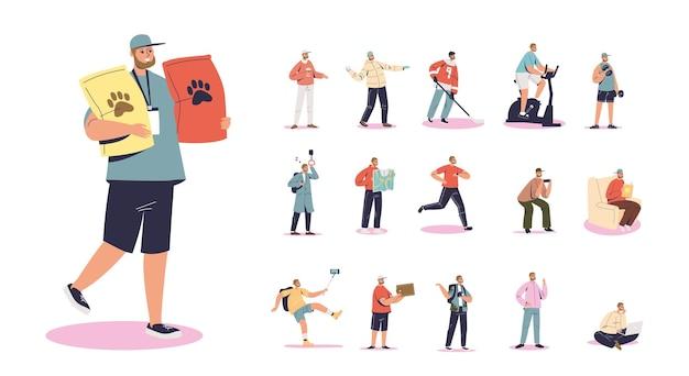 Zestaw kreskówka młody człowiek nosi torby z karmą dla zwierząt domowych w różnych sytuacjach życiowych i pozach