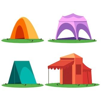Zestaw kreskówka namiotów kempingowych i turystycznych na białym tle