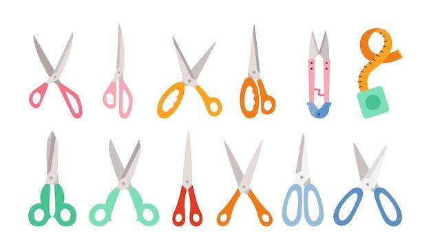 Zestaw kreskówka nożyczek, ręcznie rysowane profesjonalne nożyczki do cięcia włosów lub robótek ręcznych. płaskie kreatywne nożyczki do robienia i nożyc. kolekcja otwarta, zamknięta lub szczypcami