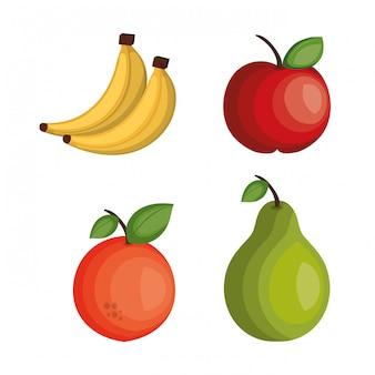 Zestaw kreskówka owoce tropikalne projekt