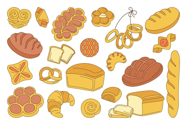 Zestaw kreskówka pieczywa. linia bochenek chleba i francuska bagietka, precel, muffinka, rogalik, ciabatta