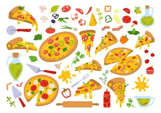 Zestaw kreskówka pizzy, włoskie ręcznie rysowane pizze z zieleniną, papryką, pomidorem, oliwą, serem, grzybami. margarita i hawajska, pepperoni lub owoce morza, meksykańska. kawałki pizzy i składniki