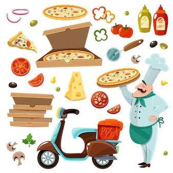 Zestaw kreskówka pizzy