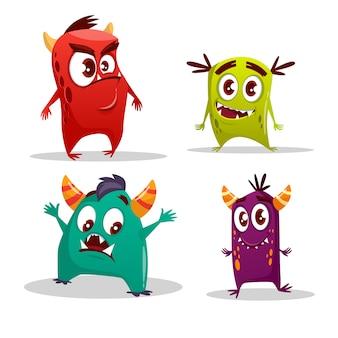 Zestaw kreskówka potwór. Śmieszne fantastyczne stwory z gniewnymi szczęśliwymi zdziwionymi emocjami