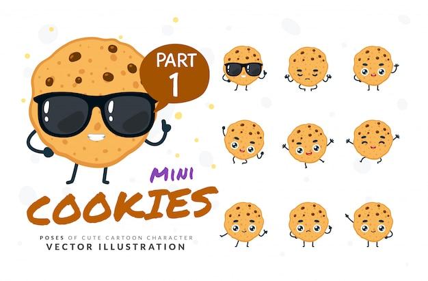 Zestaw kreskówka pozuje ciasteczka.