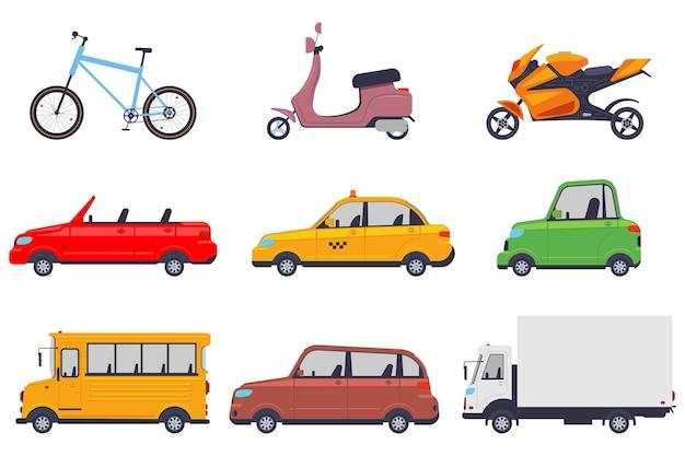 Zestaw kreskówka różnych pojazdów na białym tle