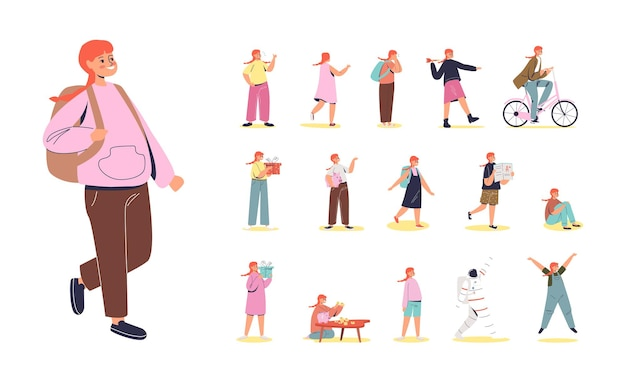 Zestaw kreskówka rude włosy uczennica z plecakiem w różnych sytuacjach życia i pozach