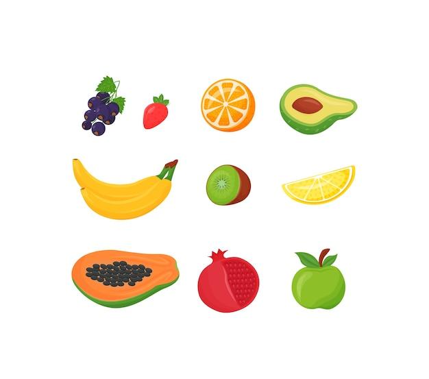 Zestaw kreskówka s świeże owoce. zdrowy posiłek z czarnej porzeczki, truskawek i pomarańczy. egzotyczne banany i kiwi, obiekt o płaskim kolorze. tropikalna cytryna i papaja na białym tle