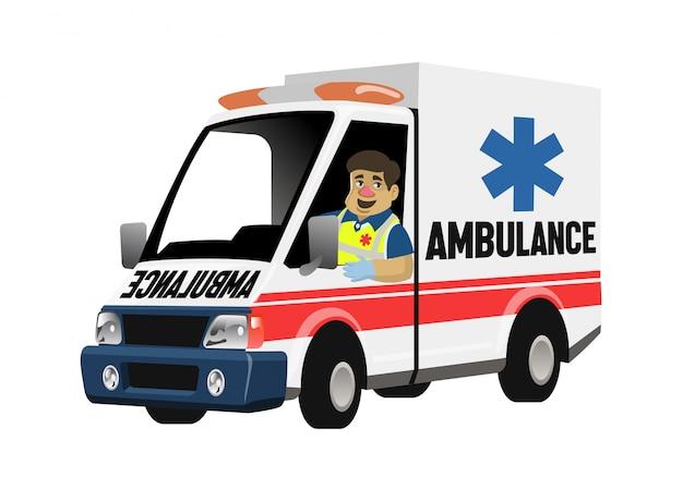 Zestaw kreskówka sanitariusz jazdy pogotowia