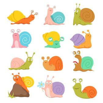 Zestaw kreskówka ślimak