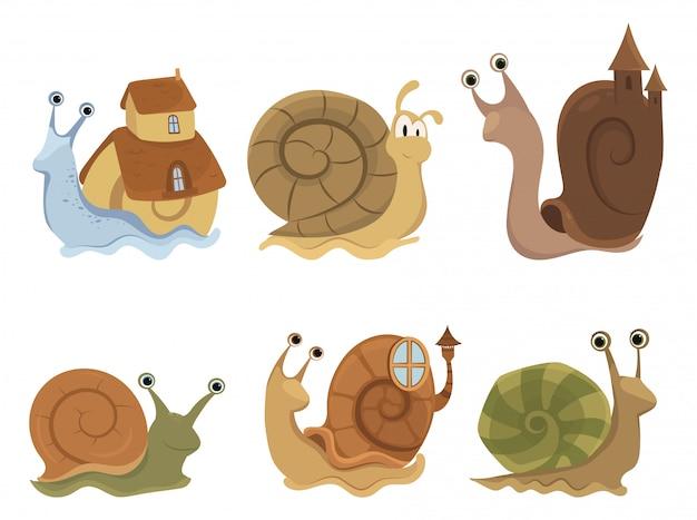 Zestaw kreskówka ślimaki z domów. kolekcja ślicznych małży. ilustracja.