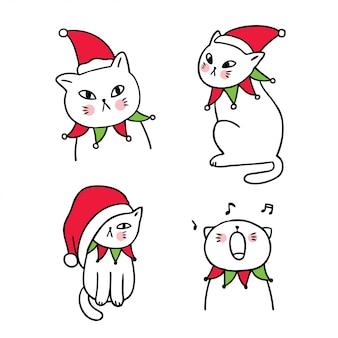 Zestaw kreskówka słodkie koty christmasj.