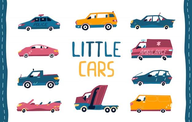 Zestaw kreskówka słodkie małe samochody. kolekcja zabawek dla dzieci. ilustracja na białym tle