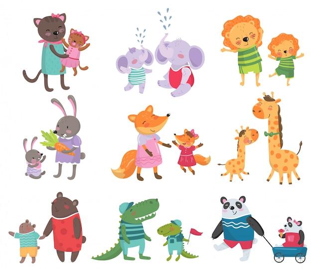 Zestaw kreskówka słodkie portrety rodzinne zwierząt. koty, słonie, lwy, króliczki, lisy, żyrafy, niedźwiedzie, krokodyle i pandy.
