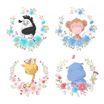 Zestaw kreskówka słodkie zwierzęta zebra małpa żyrafa i hipopotam w kwiatowe wieńce dla dzieci clipart.