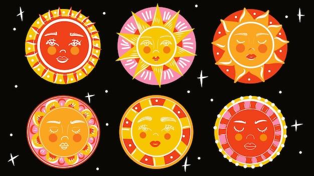 Zestaw kreskówka słońce