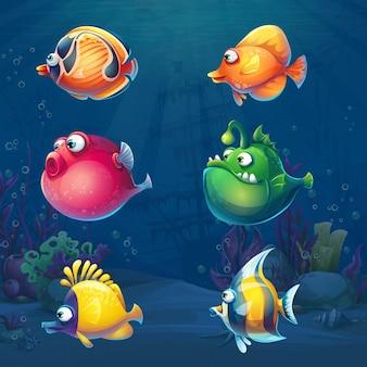 Zestaw kreskówka śmieszne ryby w ilustracji tła podwodnego świata