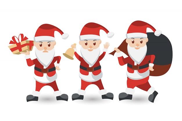 Zestaw kreskówka świętego mikołaja. świąteczna kolekcja