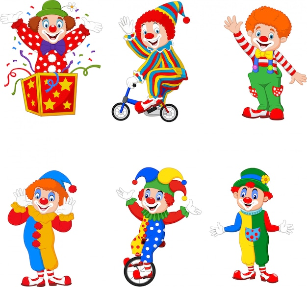Zestaw kreskówka szczęśliwych klaunów w różnych działaniach