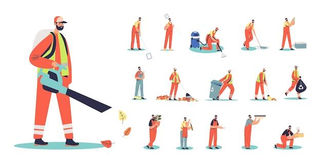 Zestaw kreskówka woźnego mężczyzny w mundurze za pomocą odkurzacza do zbierania liści w różnych sytuacjach życia i pozach: czyszczenie basenu lub wykonywanie renowacji. płaska ilustracja wektorowa