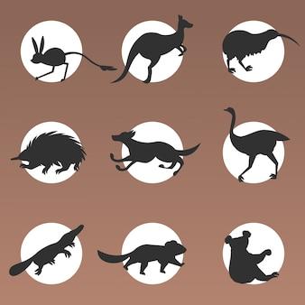 Zestaw kreskówka zagrożonych dzikich zwierząt australijskich diabeł tasmański echidna dingo jerboa struś kiwi dziobak koala kangur symbole kolekcja przyrody gatunki fauny koncepcja mieszkanie