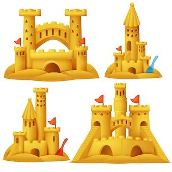 Zestaw kreskówka zamek z piasku. budynki rzeźb na plaży.