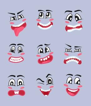 Zestaw kreskówka znaków emoji