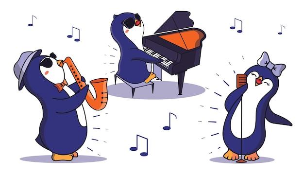 Zestaw kreskówkowych pingwinów grających na instrumentach muzycznych.
