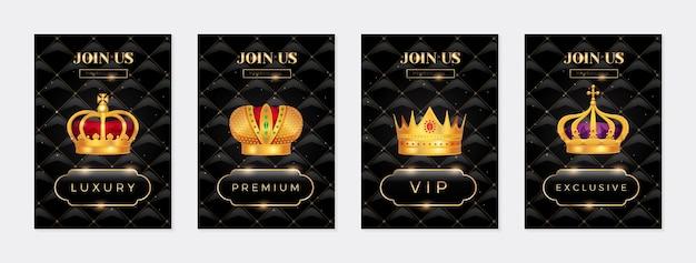 Zestaw królewskich banerów ze złotą koroną .