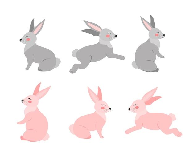 Zestaw królików w różnych pozach stylu cartoon płaskie. królik na białym tle. ilustracja wektorowa clipart.