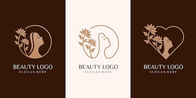 Zestaw królowej piękna kobieta logo. spa, moda, makijaż, fryzjerstwo dziewczyna koncepcja logo ikona stylu liniowego