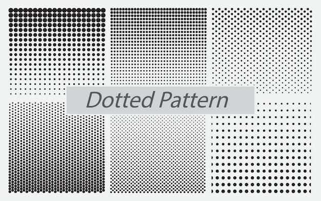 Zestaw kropkowanego wzoru bez szwu lub wzoru kropki rastrowej bez szwu lub gradientu gładkiej kropki