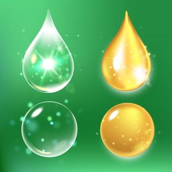 Zestaw kropli surowicy kolagenowej i witamin.