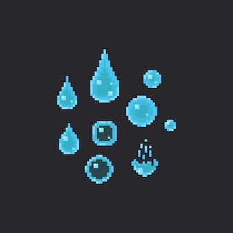 Zestaw kropli wody pikseli