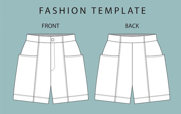 Zestaw krótkich spodni z przodu iz tyłu