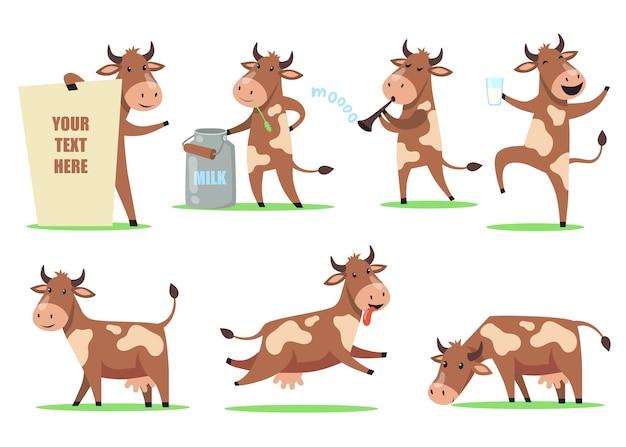 Zestaw krów śmieszne kreskówki. urocza uśmiechnięta postać zwierzęcia w innej akcji, szczęśliwa krowa tańcząca ze szklanką mleka, żująca trawę, dobra zabawa. dla zwierząt gospodarskich, nabiału, humoru