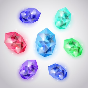 Zestaw kryształków w różnych kolorach z odblaskami i cieniami